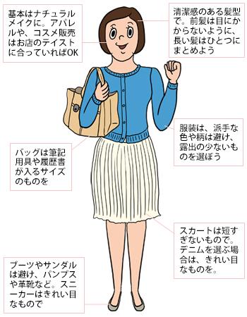 18478ca147799 アルバイト面接の服装・髪型・メイクなどの身だしなみの例:女性編