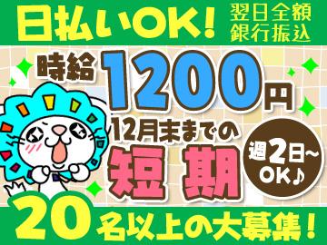 年内短期★日払いOK(翌日全額銀行振込)の軽作業!